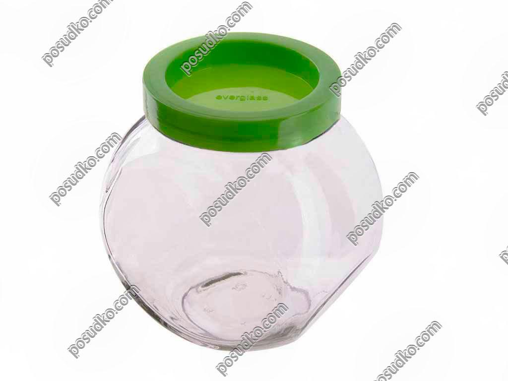 Sweet Банка з пластиковою кришкою зелена кришка 160 х110 мм, h-165 мм 1,75 л (EverGlass)