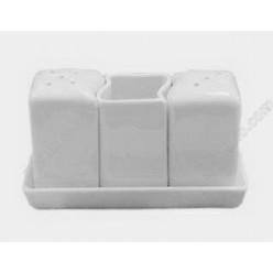 Helfer white Набір для спецій з підставкою 3 предмета квадрат хвиля h-70 мм (Helfer)