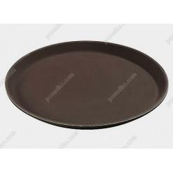 Таця Піднос з антиковзаючим покриттям круглий коричневий d-400 мм (FoREST)