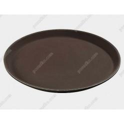Таця Піднос з антиковзаючим покриттям круглий коричневий d-350 мм (FoREST)