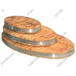 Дуб, ясен Дошка розробна торцева з металевим ободом овальна 700 х400х70 мм (Кедр)