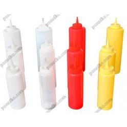 Kitchen Пляшка для соусу, сиропу з носиком червона d-60 мм, h-195 мм 360 мл (FoREST)