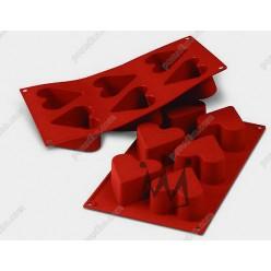 Професійний силікон Форма для випічки, заливки, заморозки серце 6 заглиблень теракотова темна d-65 мм, h-40 мм 130 мл (Silikomart)