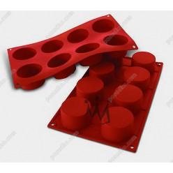 Професійний силікон Форма для випічки, заливки, заморозки циліндр 8 заглиблень теракотова темна d-60 мм, h-35 мм 90 мл (Silikomart)