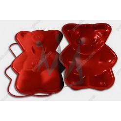 Професійний силікон Форма для випічки, заливки, заморозки ведмедик з кільцем теракотова темна 290 х200 мм, h-60 мм 1,05 л (Silikomart)