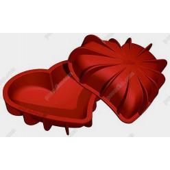 Професійний силікон Форма для випічки, заливки, заморозки серце посилена з ребрами жорсткості теракотова темна 200 х190 мм, h-50 мм 1,1 л (Silikomart)