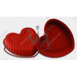 Професійний силікон Форма для випічки, заливки, заморозки серце з кільцем теракотова темна 220 х210 мм, h-40 мм 1,25 л (Silikomart)