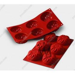 Професійний силікон Форма для випічки, заливки, заморозки сонях 6 заглиблень теракотова темна d-76 мм, h-40 мм 115 мл (Silikomart)