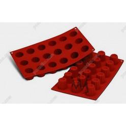 Професійний силікон Форма для випічки, заливки, заморозки кекс з заглибленням 18 заглиблень теракотова темна d-35 мм, h-35 мм 30 мл (Silikomart)