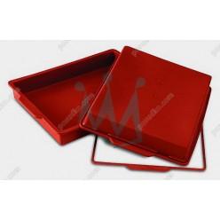 Професійний силікон Форма для випічки, заливки, заморозки прямокутник з кільцем теракотова темна 280 х220 мм, h-40 мм 2,25 л (Silikomart)