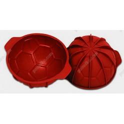 Професійний силікон Форма для випічки, заливки, заморозки футбольний м`яч з кільцем теракотова темна d-180 мм, h-95 мм 1,65 л (Silikomart)