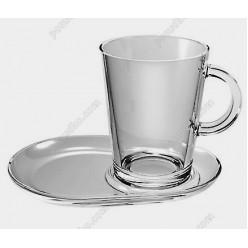 Transparent Чашка для чаю з блюдцем 400 мл (Pasabahce)