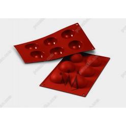 Професійний силікон Форма для випічки, заливки, заморозки півкуля 6 заглиблень теракотова темна d-60 мм, h-30 мм 60 мл (Silikomart)