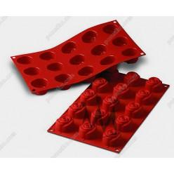 Професійний силікон Форма для випічки, заливки, заморозки троянда 15 заглиблень теракотова темна d-44 мм, h-27 мм 23 мл (Silikomart)