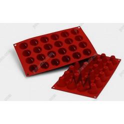 Професійний силікон Форма для випічки, заливки, заморозки бабка з заглибленням 24 заглиблення теракотова темна d-36 мм, h-31 мм 16 мл (Silikomart)