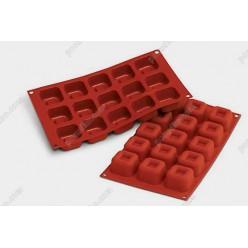 Професійний силікон Форма для випічки, заливки, заморозки кубик з заглибленням 15 заглиблень теракотова темна 48 х48 мм, h-30 мм 45 мл (Silikomart)