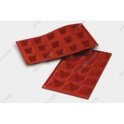 Професійний силікон Форма для випічки, заливки, заморозки піраміда 15 заглиблень теракотова темна 36 х36 мм, h-22 мм 20 мл (Silikomart)