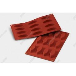 Професійний силікон Форма для випічки, заливки, заморозки човник 12 заглиблень теракотова темна 72 х30 мм, h-15 мм 20 мл (Silikomart)