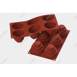Професійний силікон Форма для випічки, заливки, заморозки тортик круглий 6 заглиблень теракотова темна d-75 мм, h-60 мм 177 мл (Silikomart)