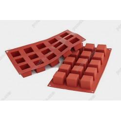 Професійний силікон Форма для випічки, заливки, заморозки кубик 15 заглиблень теракотова темна 35 х35 мм, h-35 мм 42 мл (Silikomart)