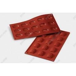 Професійний силікон Форма для випічки, заливки, заморозки мушля 15 заглиблень теракотова темна 44 х34 мм, h-10 мм 10 мл (Silikomart)
