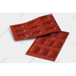 Професійний силікон Форма для випічки, заливки, заморозки мушля 9 заглиблень теракотова темна 68 х45 мм, h-17 мм 30 мл (Silikomart)