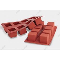 Професійний силікон Форма для випічки, заливки, заморозки кубик 8 заглиблень теракотова темна 50 х50 мм, h-50 мм 125 мл (Silikomart)