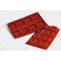 Професійний силікон Форма для випічки, заливки, заморозки кубик з заглибленням 8 заглиблень теракотова темна 62 х62 мм, h-25 мм 73 мл (Silikomart)