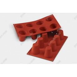 Професійний силікон Форма для випічки, заливки, заморозки бабка 8 заглиблень теракотова темна d-55 мм, h-60 мм 92 мл (Silikomart)