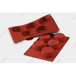Професійний силікон Форма для випічки, заливки, заморозки маффін 5 заглиблень теракотова темна d-81 мм, h-32 мм 135 мл (Silikomart)