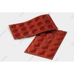 Професійний силікон Форма для випічки, заливки, заморозки тарталетка 15 заглиблень теракотова темна d-50 мм, h-15 мм 25 мл (Silikomart)