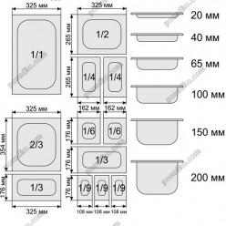 GN нержавійка Гастроємність 1/4 h - 200 мм 265 х162 мм 5,0 л (Stalgast)