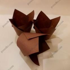 Тарталетка Форма паперова для випічки тюльпан коричнева d-50 мм, h-60, 80 мм (Україна)
