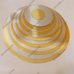 Підложка Підставка з фольгованого картону кругла золото, срібло d-210 мм, T-1,2 мм (Україна)