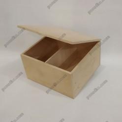 Ящик для пакетованого чаю 2 відділення 155 х150 мм, h-90 мм (Поділля)