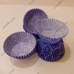 Тарталетка Форма паперова для випічки кругла синій візерунок d-45 мм, h-26 мм (Україна)