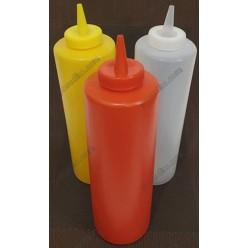 Kitchen Пляшка для соусу, сиропу з носиком червона d-60 мм, h-182/210 мм 450 мл (Україна)