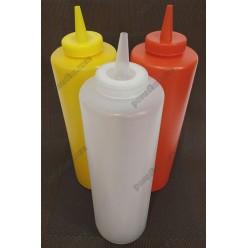 Kitchen Пляшка для соусу, сиропу з носиком біла d-67 мм, h-210/245 мм 680 мл (Україна)