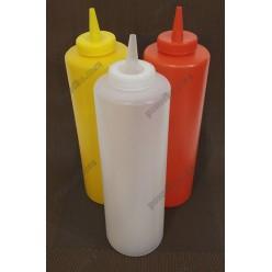 Kitchen Пляшка для соусу, сиропу з носиком біла d-60 мм, h-182/210 мм 450 мл (Україна)