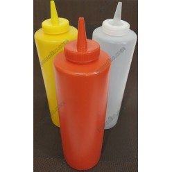 Kitchen Пляшка для соусу, сиропу з носиком червона d-67 мм, h-210/245 мм 680 мл (Україна)