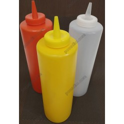 Kitchen Пляшка для соусу, сиропу з носиком жовта d-67 мм, h-210/245 мм 680 мл (Україна)