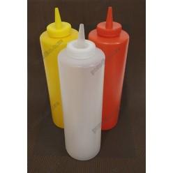 Kitchen Пляшка для соусу, сиропу з носиком біла d-53 мм, h-170/205 мм 340 мл (Україна)
