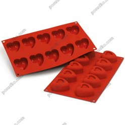 Професійний силікон Форма для випічки, заливки, заморозки серце 10 заглиблень теракотова темна 54 х49 мм, h-28 мм 45 мл (Silikomart)