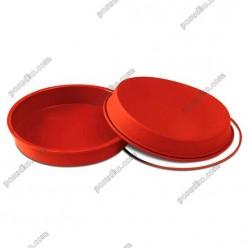 Професійний силікон Форма для випічки, заливки, заморозки кругла з кільцем теракотова темна d-200 мм, h-40 мм 1,05 л (Silikomart)