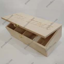 Tea time Ящик для пакетованого чаю з проріззю 4 відділення 320 х155 мм, h-90 мм (Поділля)