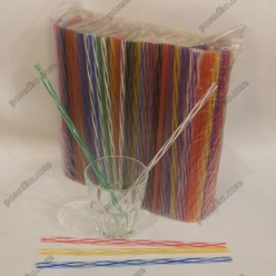 Фреш Трубочки прямі спіраль 3D мікс кольорів d-8 мм, L-250 мм (Пласт)