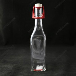 Glass rope lock Пляшка з бугельним корком квадратна прозора d-80 мм, h-320 мм 500 мл (EverGlass)