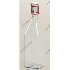 Glass rope lock Пляшка з бугельним корком квадратна прозора d-80 мм, h-320 мм 1,0 л (EverGlass)