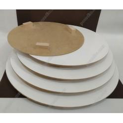 Підложка Підкладка під торт жорстка на ніжках біла d-300 мм, h-3/15 мм (Поділля)