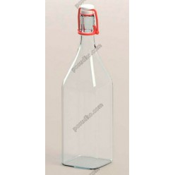 Glass rope lock Пляшка з бугельним корком квадратна прозора 1,0 л (EverGlass)